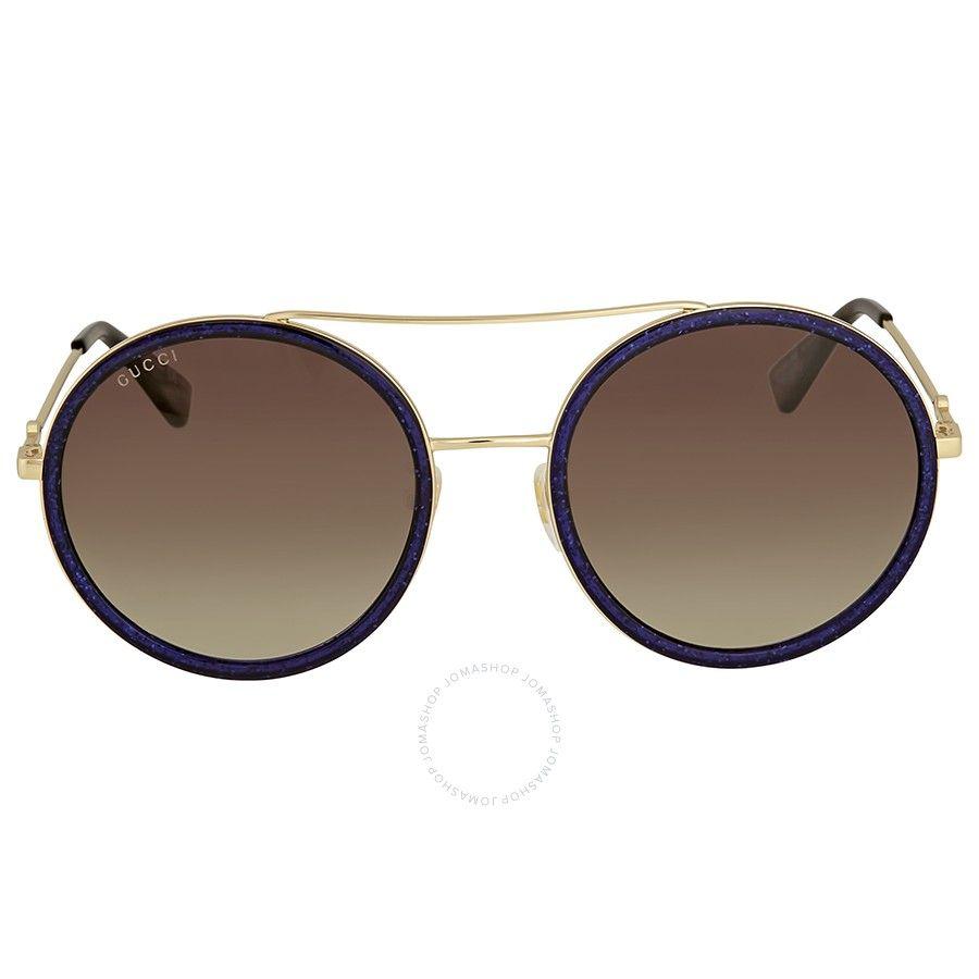 ba3cb196b2c Gucci Round Navy Sparkle Sunglasses in 2019