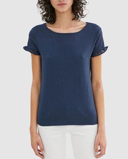 80b1e1dcef Camiseta de mujer Esprit con calados y volantes