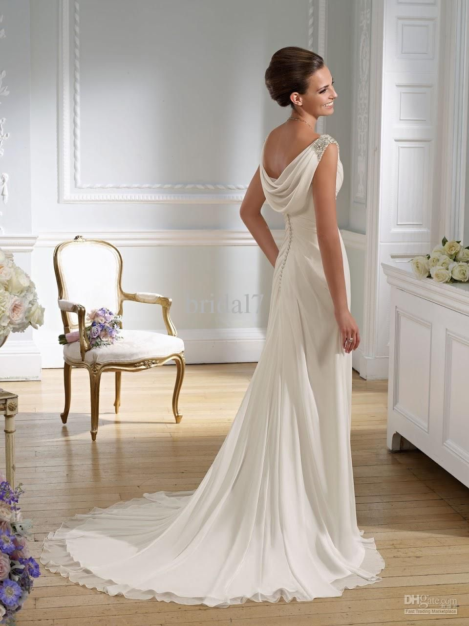 Victorian Sheath Wedding Dresses | ... Sexy V-neck Chiffon Greek ...