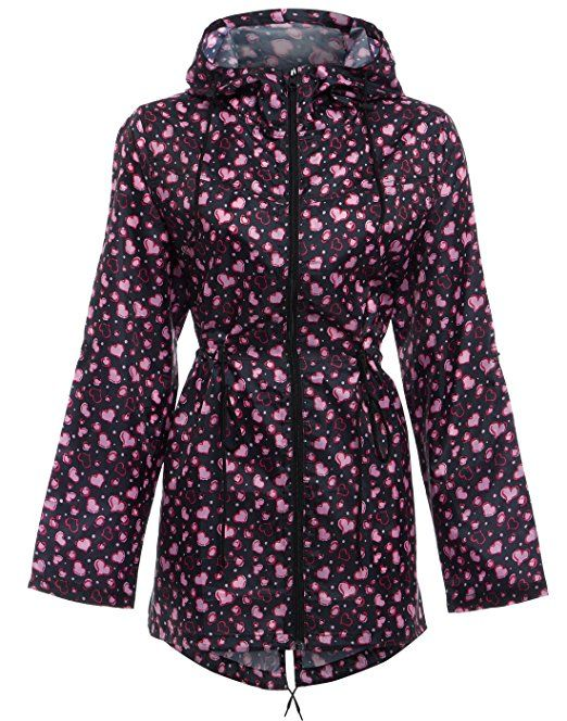 New Womens Floral Print Rain coat Festival Parka Fishtail Hooded Raincoat Jacket