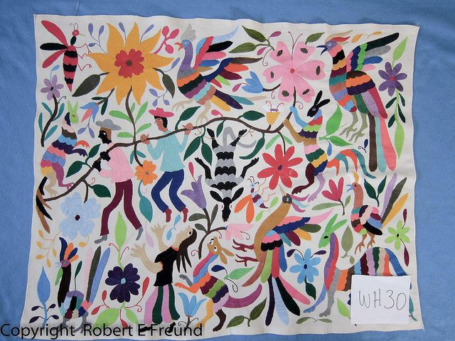 Custom color combination of Otomi embroidery by Mexico Culture, via Flickr
