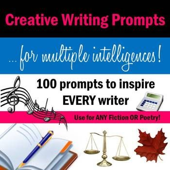 100 Prompts for Multiple Intelligences to get EVERY student writing! Use for creative fiction or poetry! All slides come with a prompt, a prompt caption, and a sentence starter.