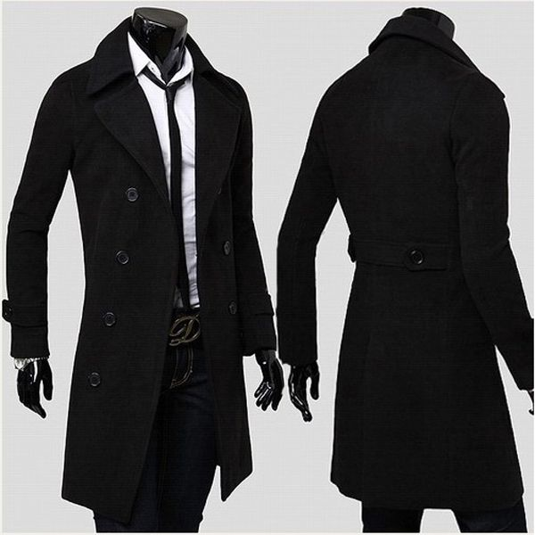Stylish Double Breasted Overcoat Men Long Trench Winter Coat ...