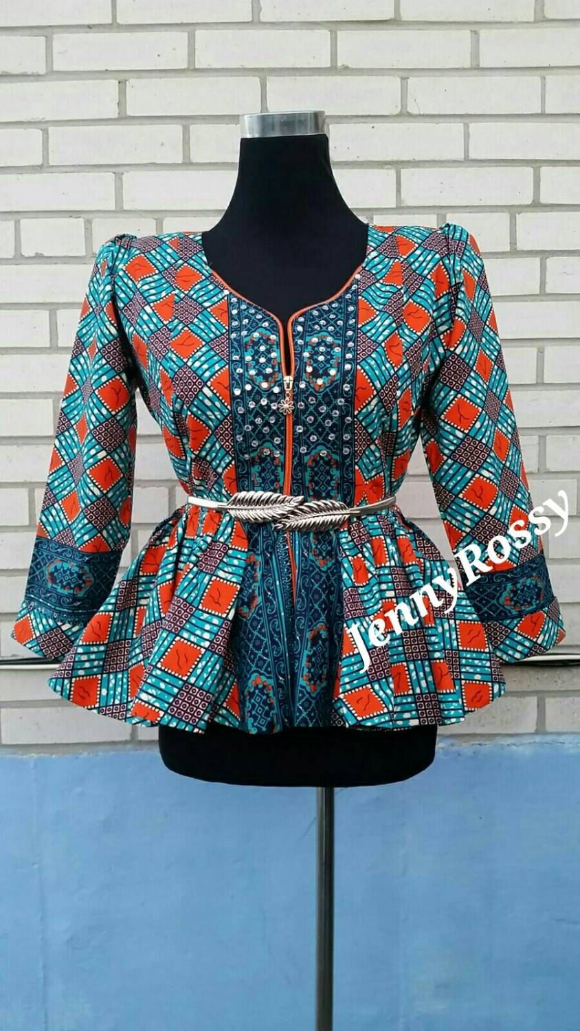 6f3b80def9e4f4 Jenny Rossy African print peplum top African blouse with rhinestone design  jacket zipper top African clothing ankara women size us 0-18 (105.00 CAD)  by ...