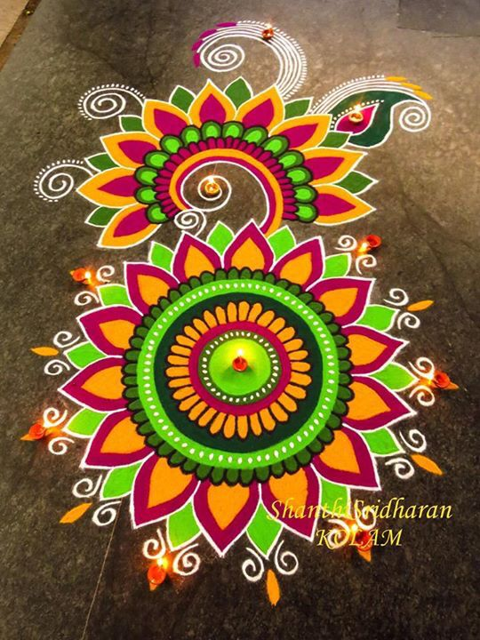 Mandala Kolam Rangoli Designs Flower Colorful Rangoli Designs Rangoli Designs Diwali