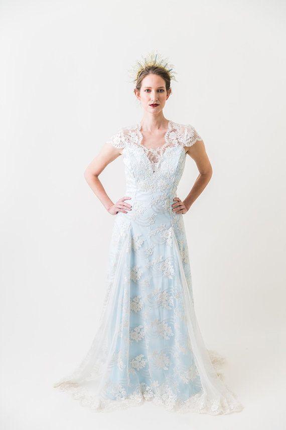 BlueBell Bridal Dress Wedding Lace Bridal by MarisolAparicio