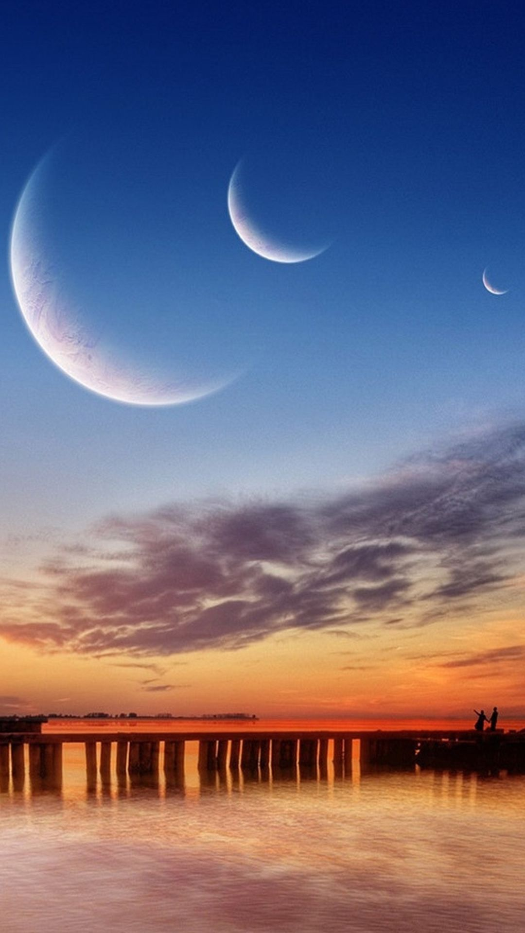 Nature Crescent Moon Outer Space View River Bridge Landscape