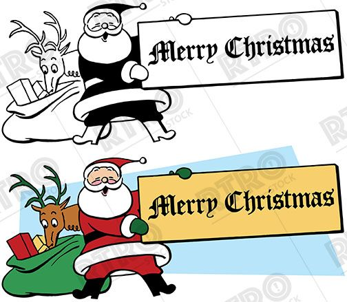 santa claus holds up a sign that reads merry christmas vintage retro rh pinterest com sign up clipart sign up sheet clipart