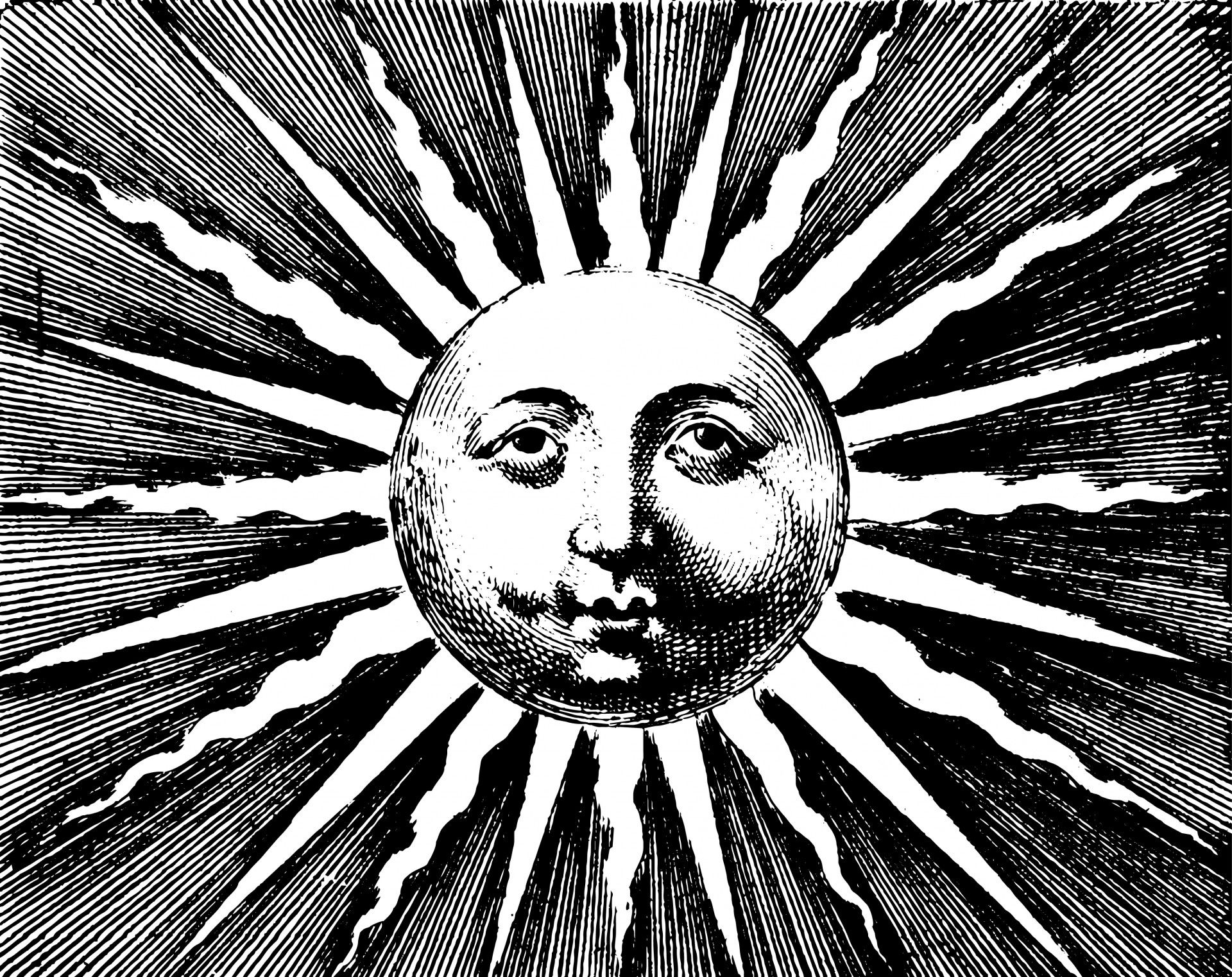 Vintage Clip Art - Old Fashioned Sun with Face | Graphics ... |Vintage Sun Illustration