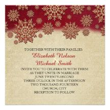 Christmas Eve Red Snowflakes Wedding Invite