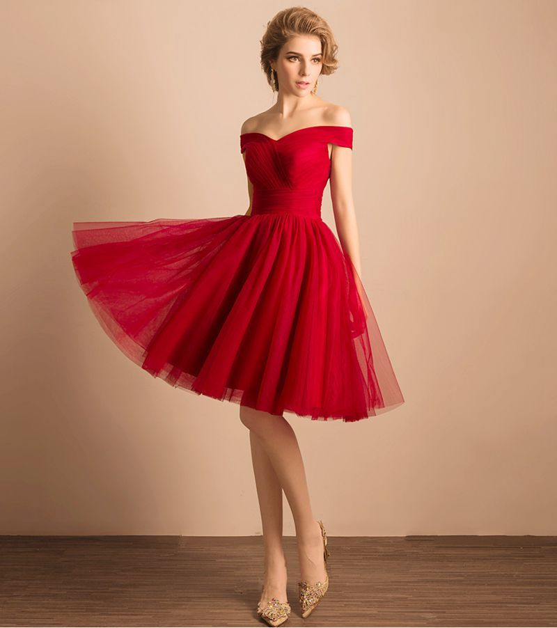 Cute red tulle short a line prom dress dresses