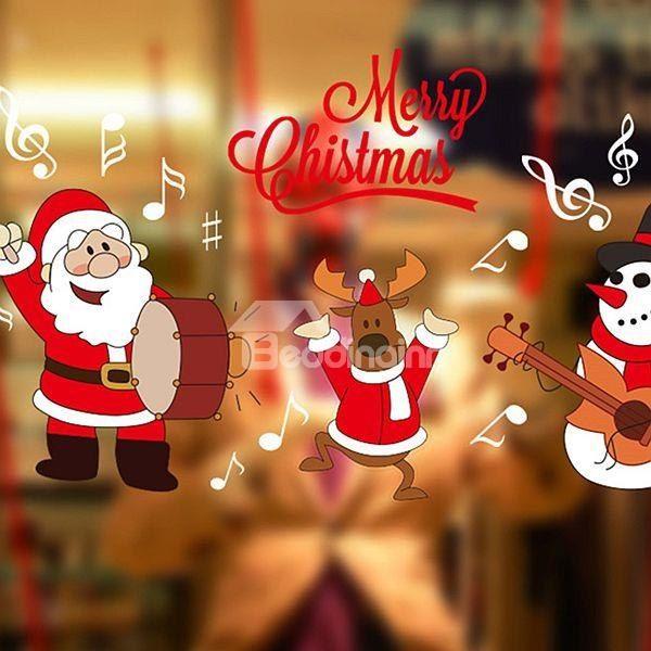 Wonderful Festival #Christmas Decoration Santa Claus Drum Pattern #Wall #Sticker