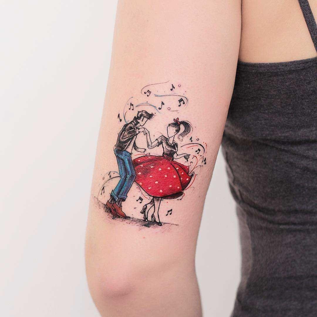 rockabilly tattoo design new school tattoo pinterest tattoo ideen und ideen. Black Bedroom Furniture Sets. Home Design Ideas