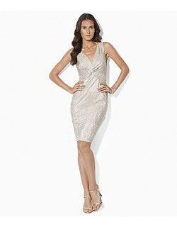 b390db31a3 Lauren Ralph Lauren White Gold Cocktail Dress with Scoop Neck. This cocktail  dress is fully lined and is in a easy to wear stretch metallic fabric.