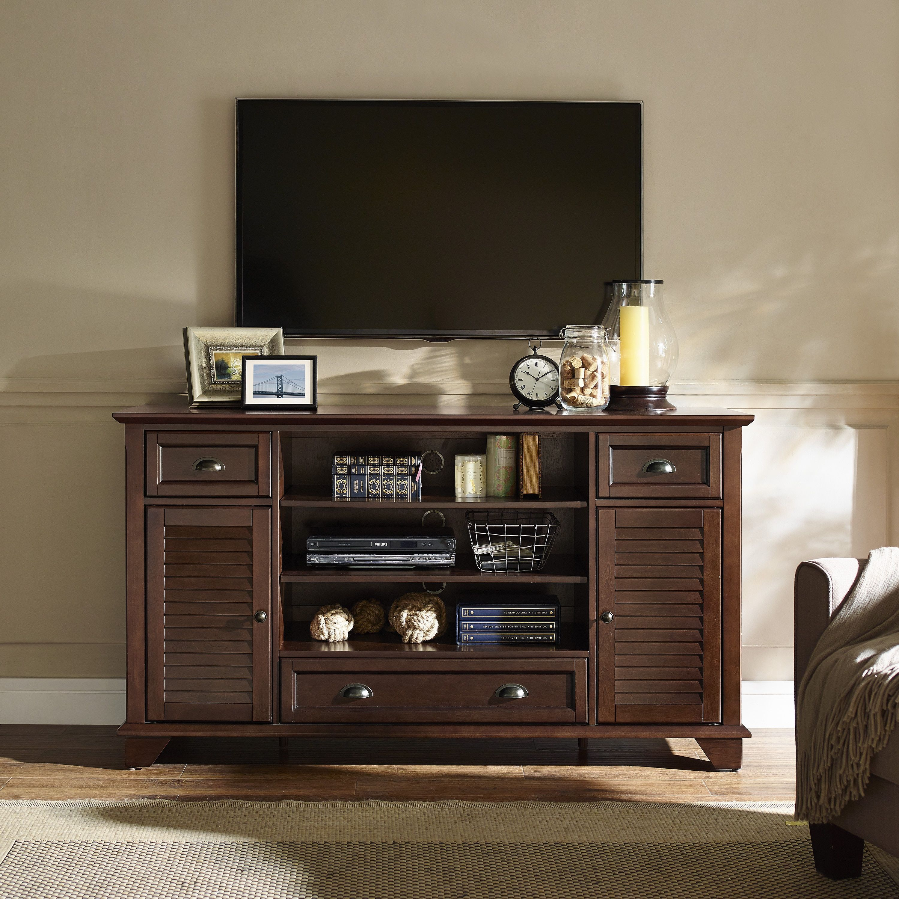 Crosley Furniture Palmetto Mahogany Wood 60 Inch Full Size TV Stand By Crosley  Furniture