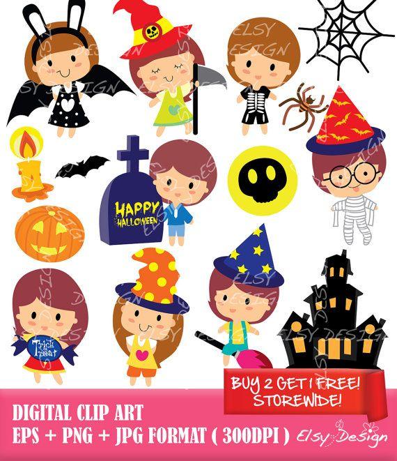 Halloween Kids Digital Clip Art Instant Download by ElsyDesign
