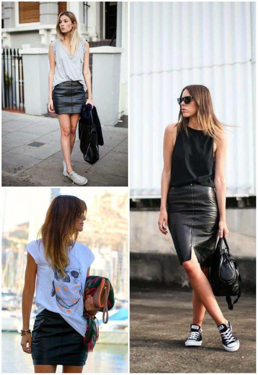 172381ba88 Look casual com saia de couro Skirt Fashion