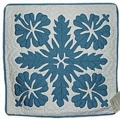 Encaustic Tiles Hawaiian Blue Hibiscus Flower Quilted Pillow Cover Hawaiian Quilt Patterns Hawaiian Quilts Hawaiian Applique Quilt