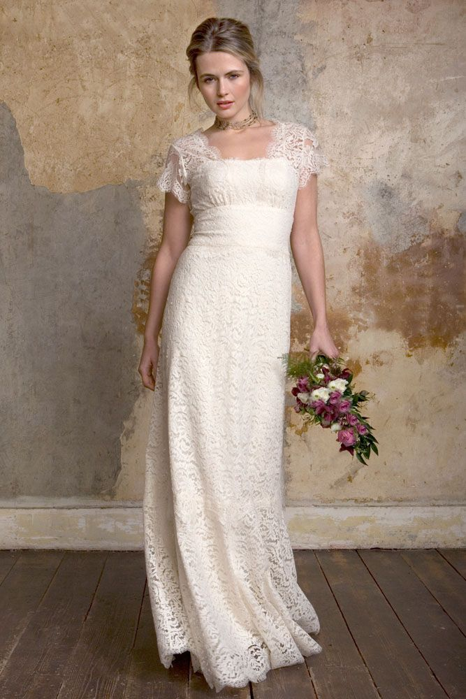 Vintage Inspired Ivory Lace Cap Sleeves Empire Waist Wedding Dress