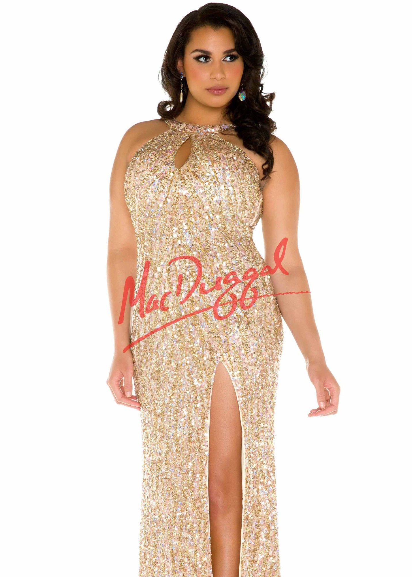 c9ba314d3 Fabulouss by Mac Duggal 4138 Dazzling Gold Sequin Plus Size Prom Gown