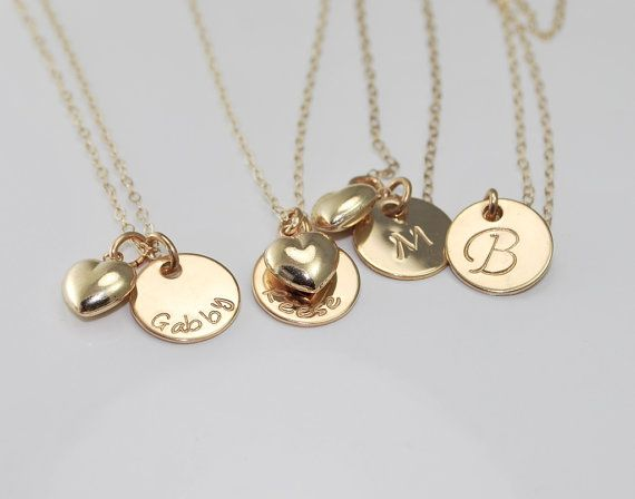 Bridesmaids gifts initial or name charm necklace  $28.00