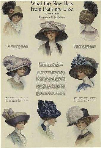 Hats from Paris-1910 #edwardianperiod
