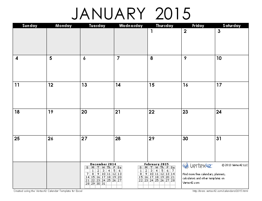 January 2015 Calendar Printable PDF | 2015 Calendar Templates ...