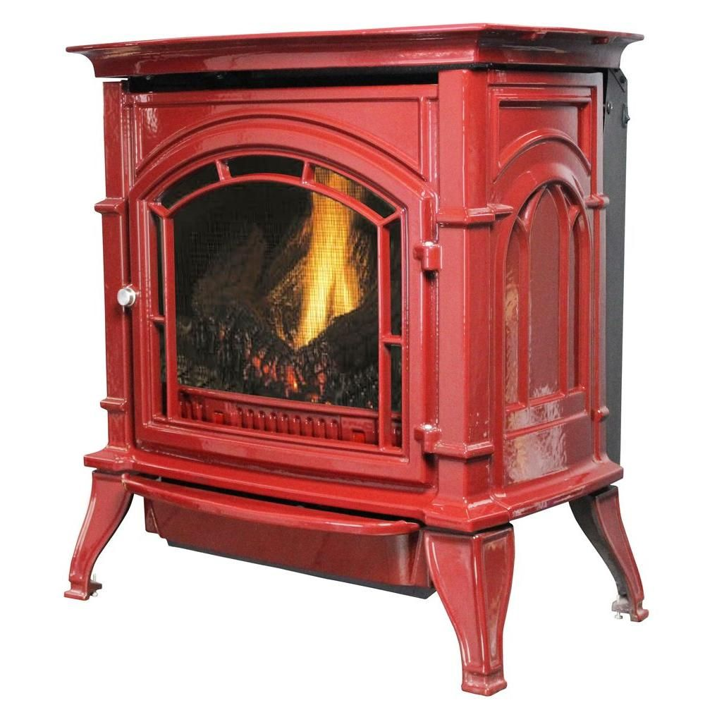 Ashley Hearth Products 31 000 Btu Vent Free Natural Gas Stove Red Enameled Porcelain Cast Iron Agc500vfrn The Home Depot Gas Stove Natural Gas Stove Natural Gas Fireplace