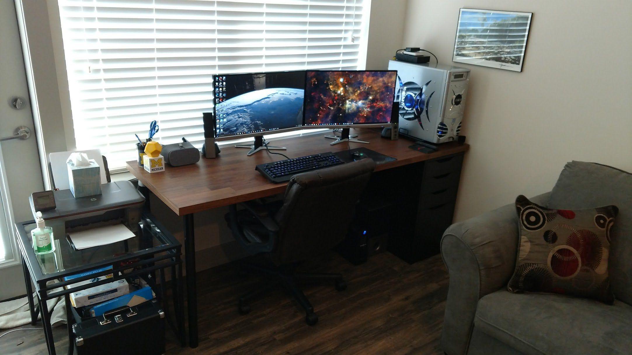 Reddit Battlestations Ikea Hack Karlby Computer Desk 250 Build In 2020 Desk Ikea Hack Pc Desk