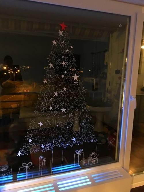 Kreidestift Fenster Weihnachten