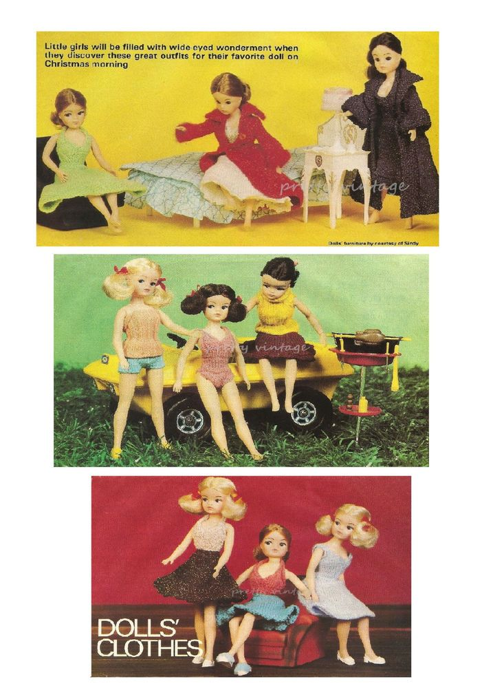 Vintage Knitting Pattern To Make Sindy Barbie Doll Clothes 11 Items