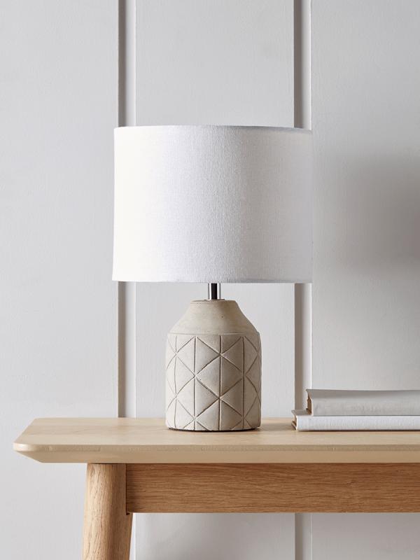 Light Grey Bedside Table: Geometric Bedside Lamp - Grey