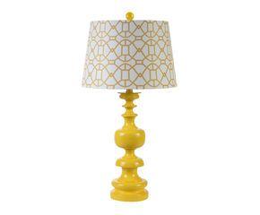 lampe de chevet jaune de creative home superbe m lange d 39 un abat jour graphique et d 39 un pied. Black Bedroom Furniture Sets. Home Design Ideas