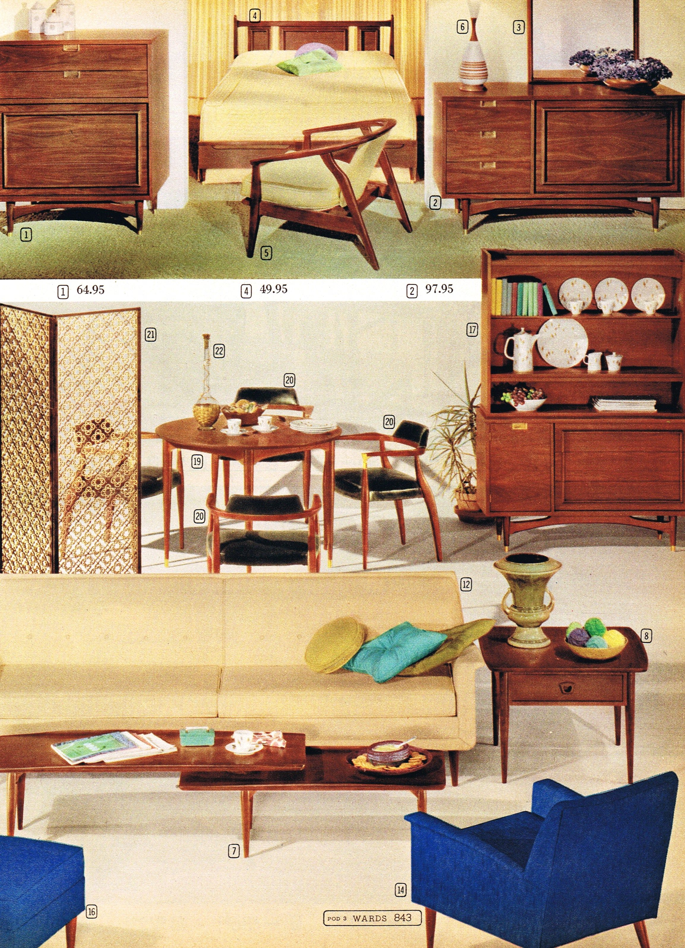 Suburbia Furniture Collection Montgomery Ward 1962 Mid Century Modern Interiors Mid Century Furnishings Futuristic Furniture