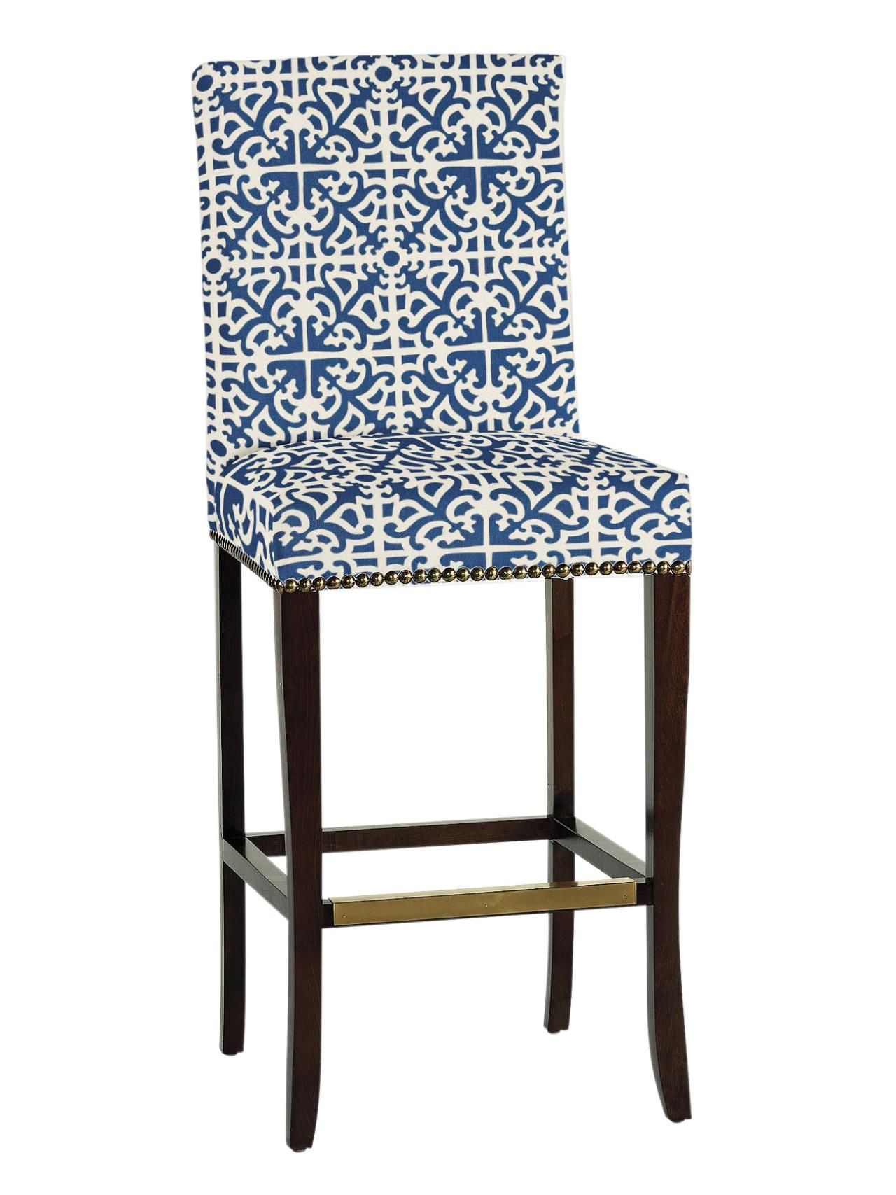 Transitional Bar Stool With Bold Blue and White Patterned Fabric ...