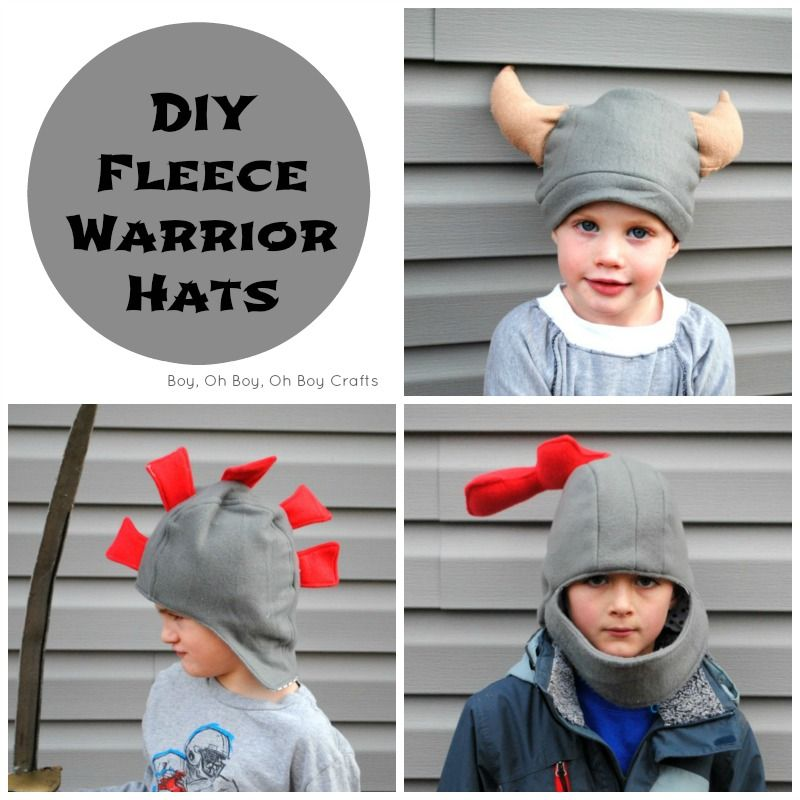 Handmade Gifts For Boys: Fleece Warrior Hats (3 ways) tutorial and free pattern.