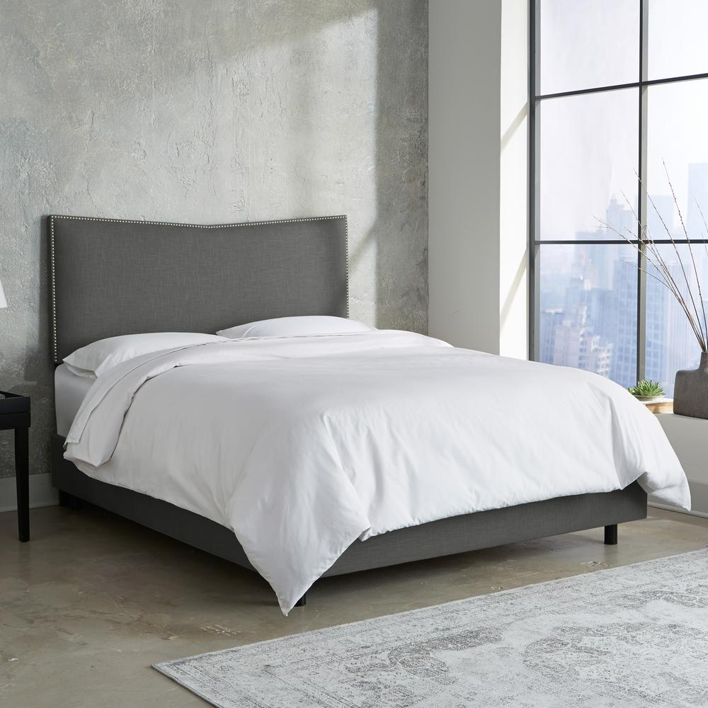 Skyline Furniture Hdc California King Nail Button Bed In Linen Slate Upholstered Beds Bed Furniture Furniture