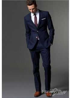 Two On Navy Blue Wedding Suit For Men