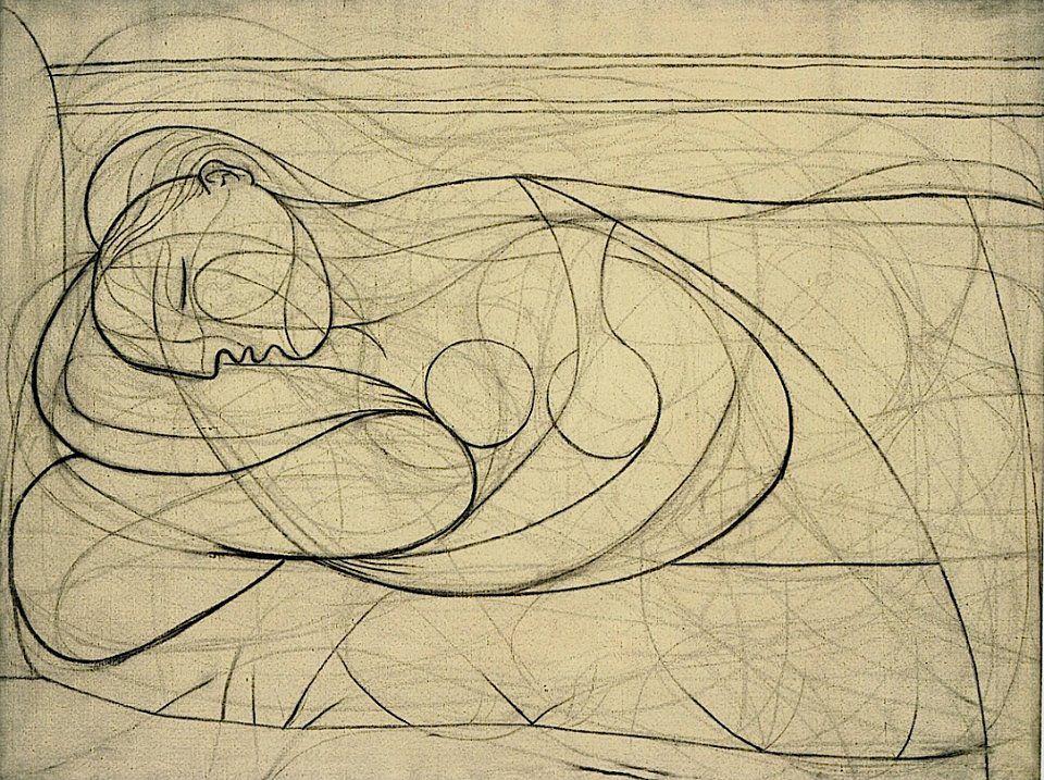 Pablo Picasso Femme Nue Couchée MarieThérèse Modern - Picassos vintage light drawings pleasure behold