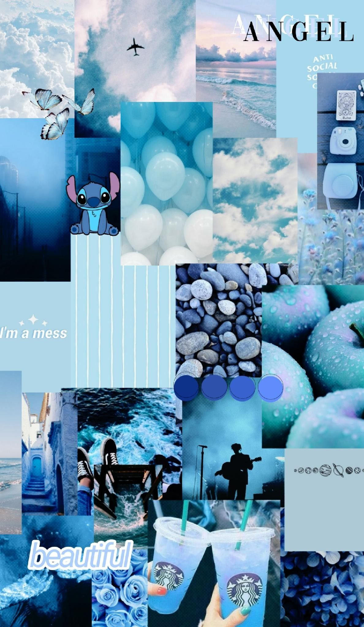 Blue Wallpaper Collage Background Aesthetic Iphone Wallpaper Iphone Wallpaper Girly