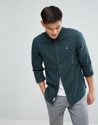 7e34ee76f7f Jack Wills Salcombe Regular Fit Flannel Gingham Check Shirt In Navy Green