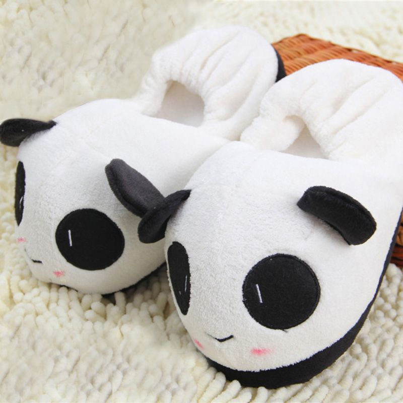 Cute Plush Panda Paw Slippers Indoor Home Winter Slippers House Shoes Unisex