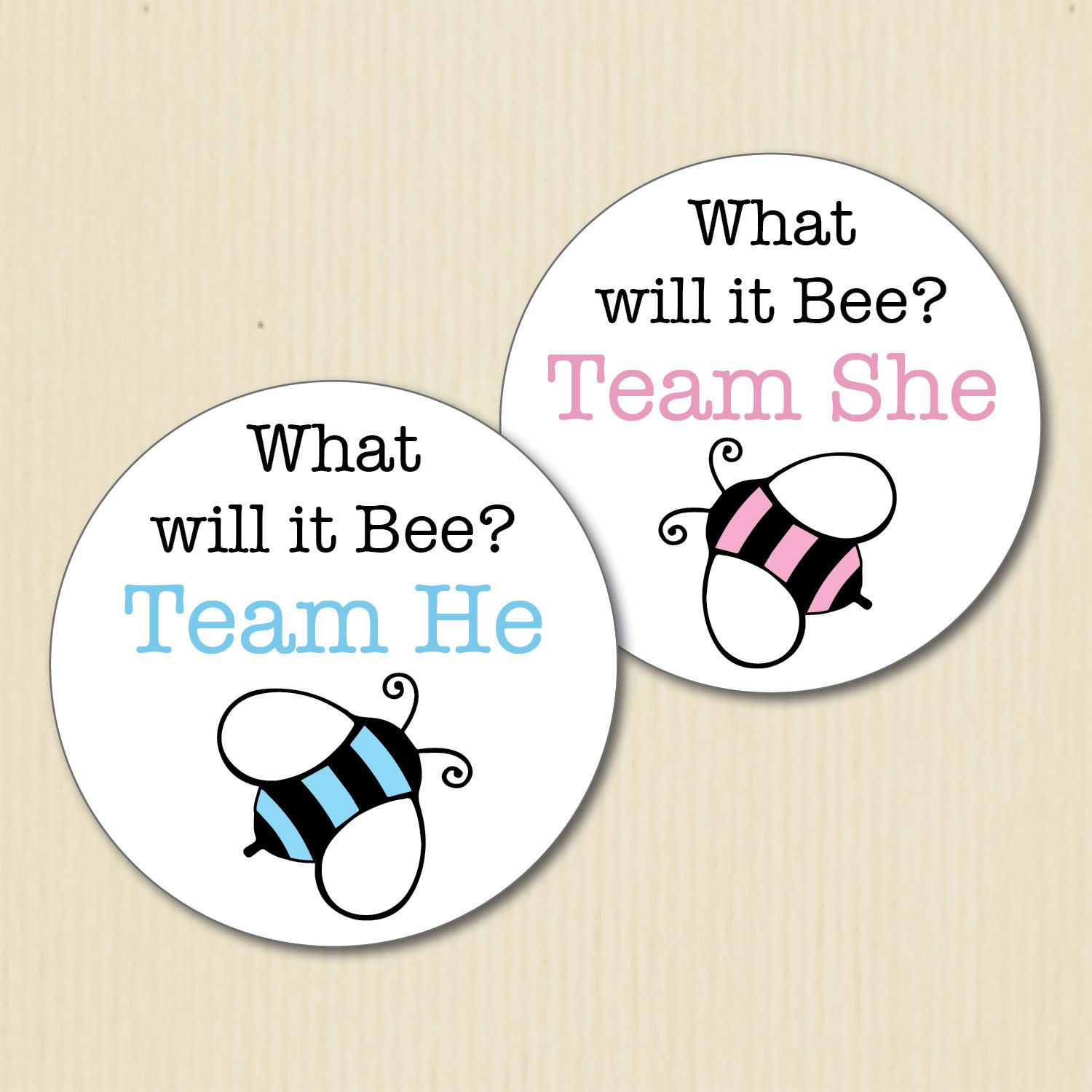 BUMBLE BEE Gender Reveal Party Stickers What Will It Bee Team He Baby ShowersBaby
