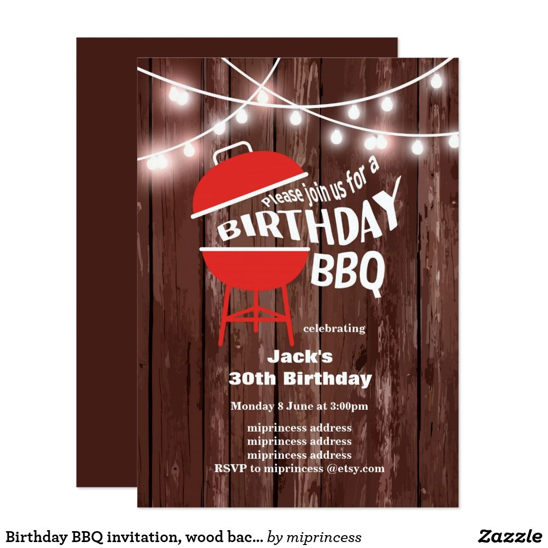 Birthday BBQ invitation, wood background Invitation | { Happy ...