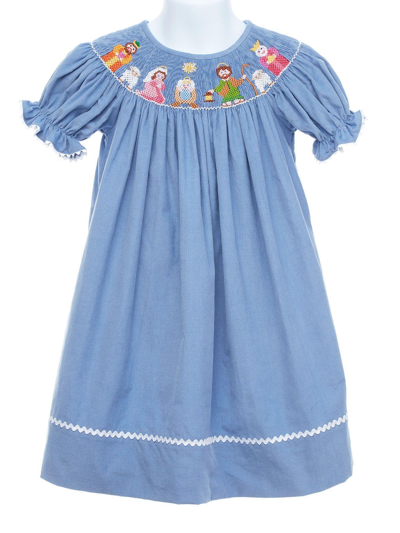Smocked Nativity Bishop Dress