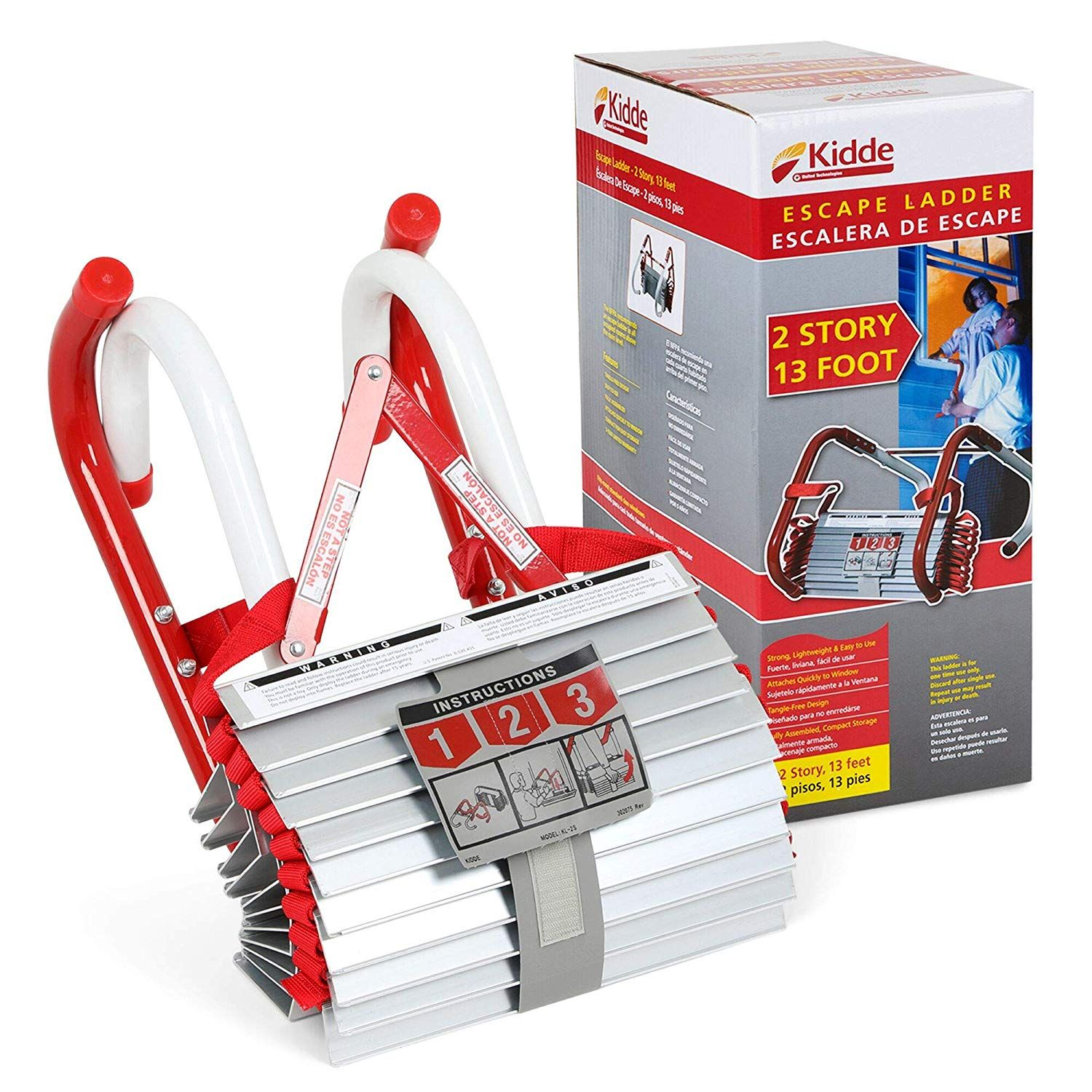 Kidde 468093 Kl 2s Two Story Fire Escape Ladder With Anti Slip Rungs 13 Foot Escape Ladder Fire Escape Ladder Fire Escape