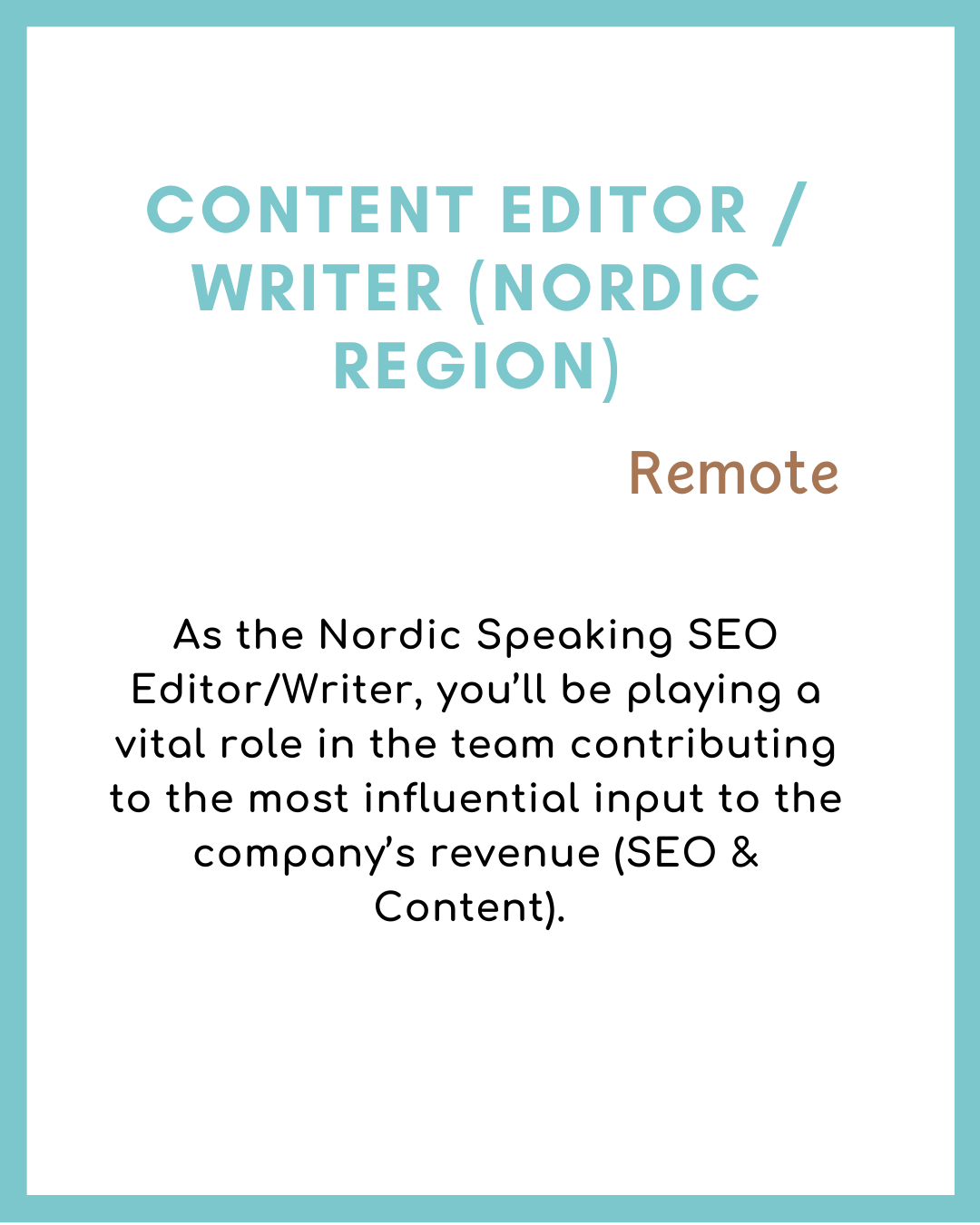 Content Editor / Writer (Nordic Region) Remote Jobs