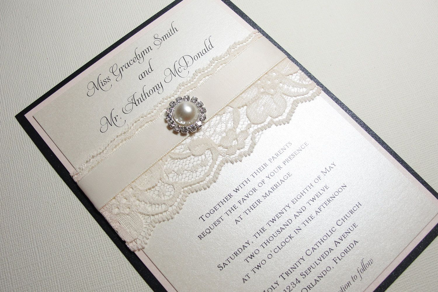 Elegant Wedding Invitations weddingaccessorieshandmadeetsy