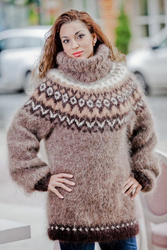 Tiffy Mohair New Hand Knitted T neck Icelandic by TiffysMohair