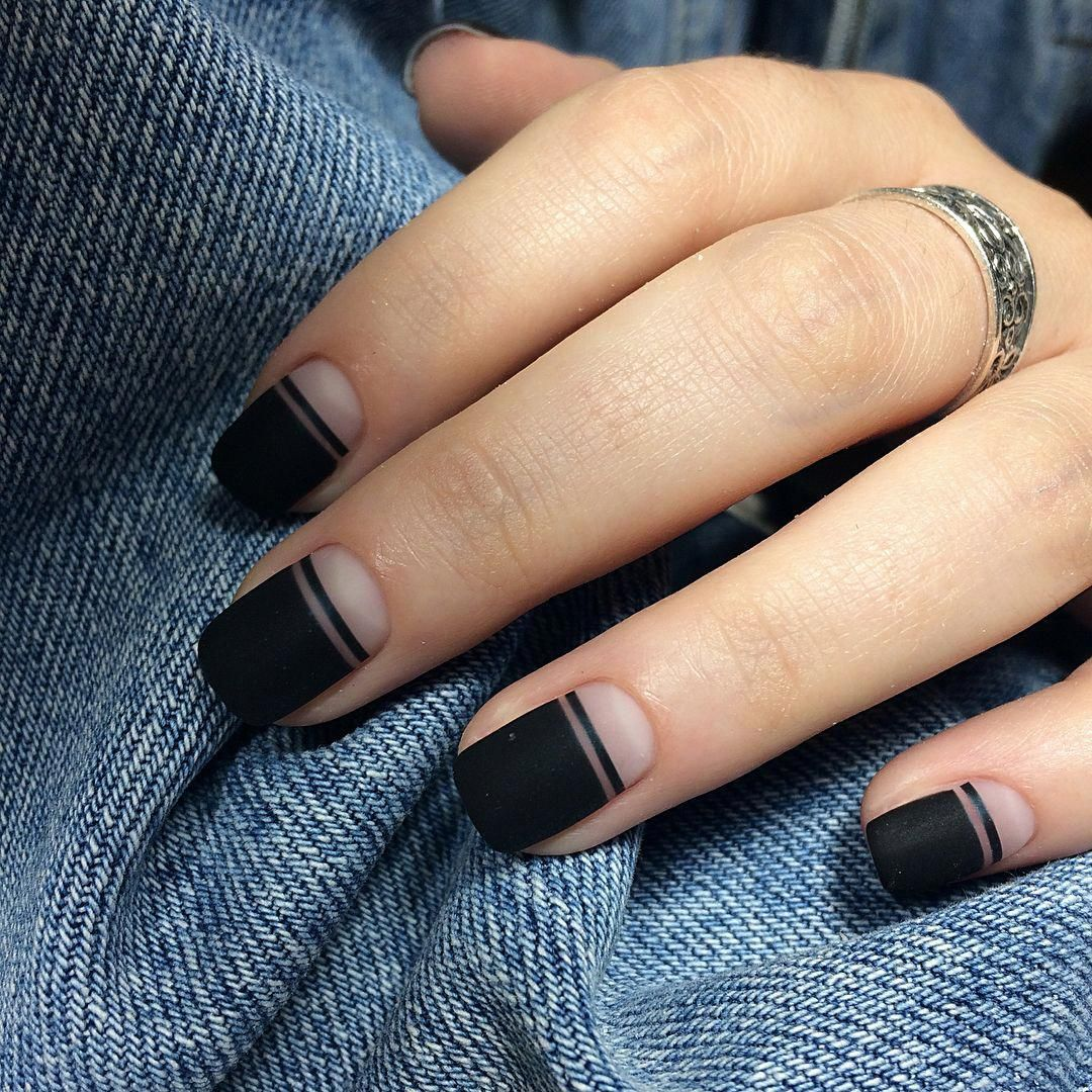 Black Matte Stripe Negative Space Nails Re Pinned By Breanna L Follow Me And Never Miss A New Nail Matte Nail Polish Designs Minimalist Nails Space Nails